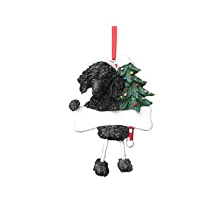 """Poodle Ornament Black with Unique """"Dangling Legs"""" Hand Painted and Easily Personalized Christmas Ornament 7"""