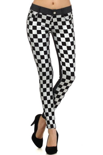 Fashion Mic Womens Jeggings Skinny Pants Multiple Styles (S/M, checkers)