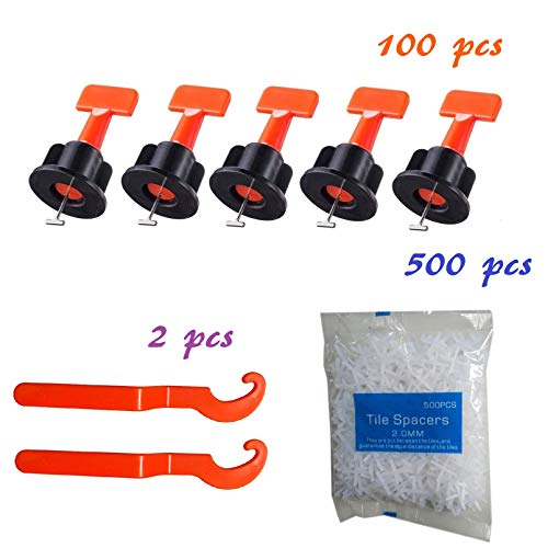 (YIYATOO 100pcs Tile Leveler Spacers and 500PCS 2mm Tile Spacer,Tile Leveling System with Special Wrench,Reusable Spacer Flooring Level Tile levellers Set System Construction for Builing Walls & Floors)