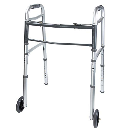 Vaunn Medical Two Button Folding Walker with Wheels, Adjustable Height and Detachable ()