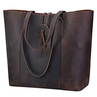 S-ZONE Vintage Women Genuine Leather Tote Bag Purse with Removable Pouch Upgraded 3.0 Version (Dark Brown)
