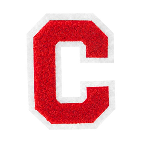 C - Red on White - 2.5 Inch Heat Seal Chenille Varsity Letter