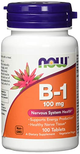 NOW Supplements, Vitamin B-1 100 mg, Energy Production*, Nervous System Health*, 100 Tablets