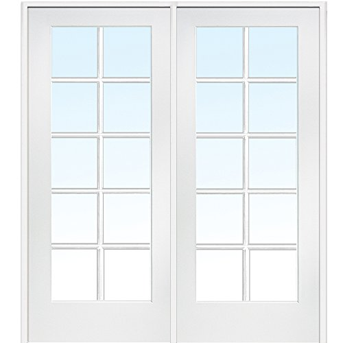 National Door Company Z019950L Primed MDF 10 Lite Clear Glass, Left Hand Prehung Interior Double Door, 48