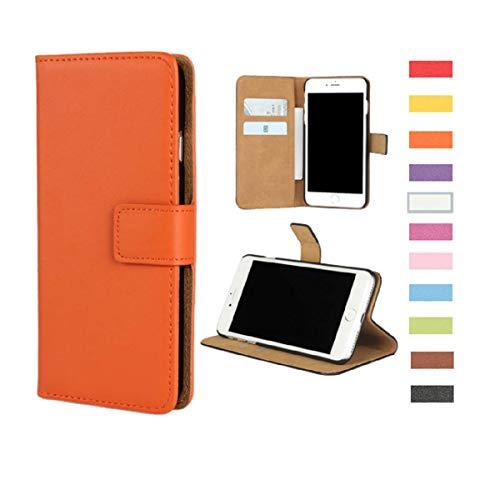 Samsung Galaxy S6 Case,Genuine Premium Leather Folio Wallet Case Flip Cover Book Design Kickstand Feature & Magnetic Closure & Card Slots/Cash Compartment Samsung Galaxy S6,Orange