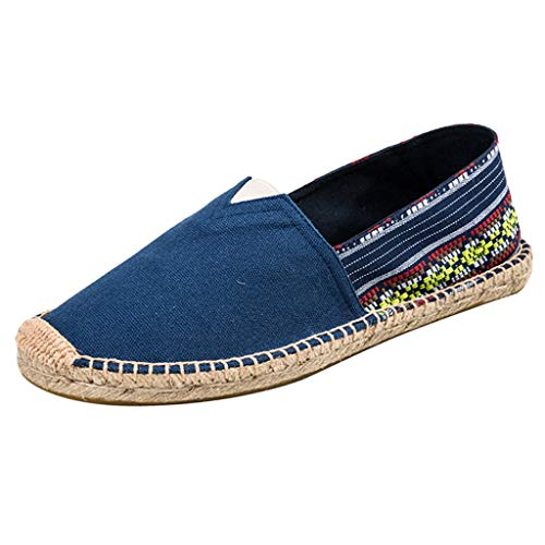 Womens Espadrilles Canvas Walking Shoes Flats Driving Loafers Slip on Shoes Trim Rubber Sole Flatform Closed Toe Sneaker (US:5.5, Blue)