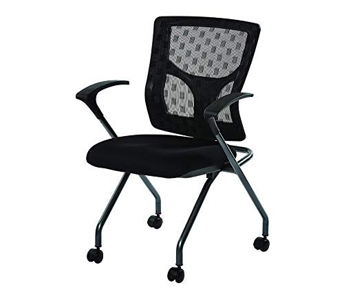 Оfficе Stаr Checkered Mesh Back and Padded Coal FreeFlex Seat, Fixed Arms, Titanium Finish Frame Folding Chair, 2-Pack, Black