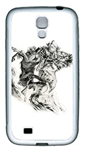 Brian114 Samsung Galaxy S4 Case, S4 Case - Slim Ultra Fit Soft Rubber Case for Samsung Galaxy S4 I9500 Fighting Lions Popular Design White Back Cover for Samsung Galaxy S4 I9500