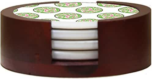 Pattern Celtic Green And Pink Sandstone Coasters Round Set of 4 Coaster Set in Mahogany Rack