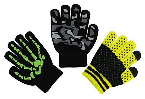 N'Ice Caps Boys Magic Stretch Gloves 3 Pair Pack Assortment (Neon Green Skeleton/Black Grey Camo/Black Neon Yellow, 6-12 Years)]()
