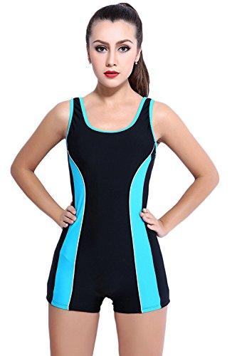 Women's Wide Strap Boyleg Scoopback Slimming One Piece Athletic Swimsuit Swimwear (US 16, black+blue)