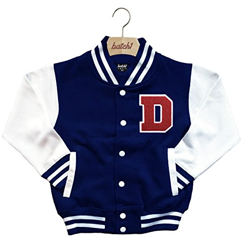 Batch1 Kids Varsity Baseball Jacket Personalised With Genuine Us College Letter D (9-11 Years, Navy) (Letter Jackets For Kids)