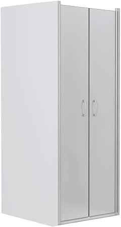 vidaXL Mampara Ducha Frontal 2 Puertas Pivotantes Serigrafiado Total Cristal Seguridad Vidrio Templado ESG Aluminio Cabina Baño Esmerilada 90x180 cm: Amazon.es: Hogar