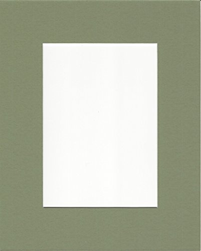 (Pack of 5 16x20 Moss Green Picture Mats with White Core, for 11x14 Pictures)