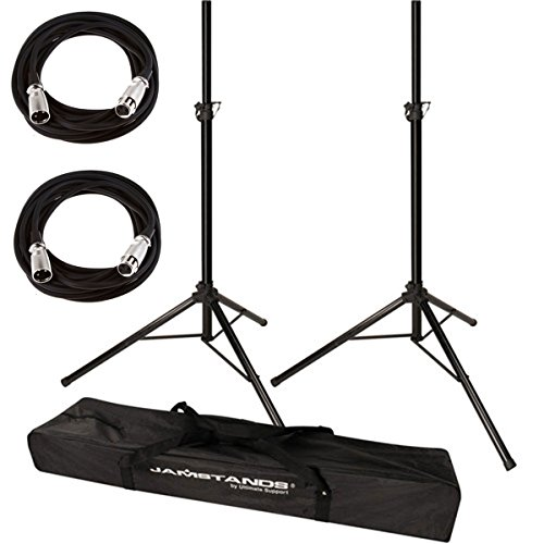 Carry Bag Microphone Stand (Ultimate Support JamStands JS-TS50 Tripod-Style Speaker Stand, Pair With Carry Bag + 2 XLR Mic Cables 20 Ft)