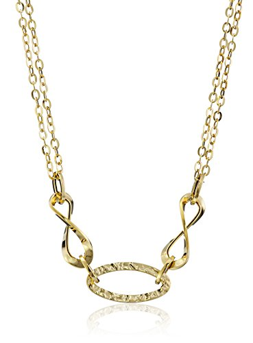 14k Yellow Gold Italian Polished and Hammered Double-Chain Necklace, 17.5'' by Amazon Collection