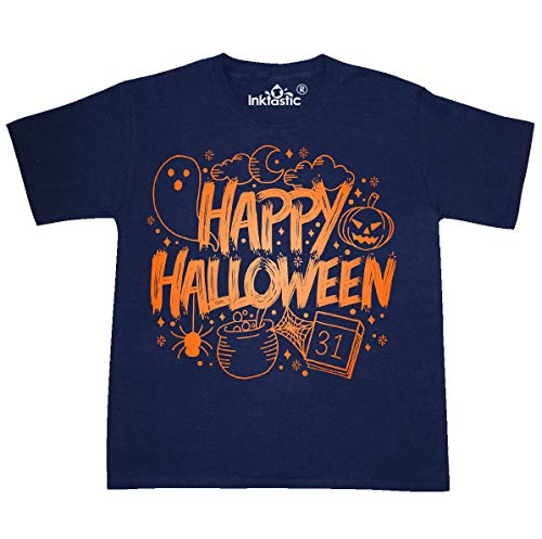 inktastic - Halloween Doodle Youth T-Shirt Youth X-Large (18-20) Navy 369f1]()