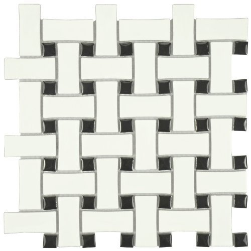 Retro Basket Weave Matte White & Black 10 1/2 x 10 1/2 Inch Glazed Porcelain Mosaic Floor & Wall Tile (10 Pcs/7.6 Sq. Ft. Per Case, $1.00 Standard Shipping) by SOMERTILE ()