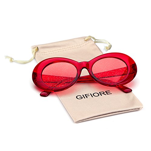 40aba828ea Bold Retro Oval Mod Thick Frame Sunglasses Clout Goggles with Round Lens  (Transparent Red