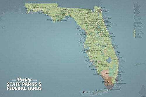 Best Maps Ever Florida State Parks & Federal Lands Map 24x36 Poster (Natural Earth)