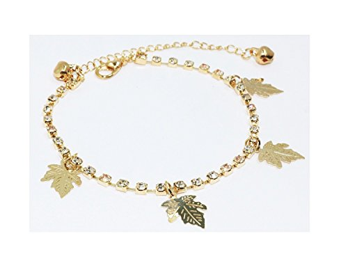 Toned Crystal Rhinestone (Gold Toned Crystal Leaf Anklet Foot Bracelet Length: 8