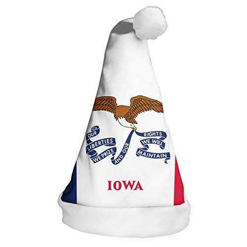 Full-Y'dream Iowa Flag Santa Hat Chrismas Hat Novelty Xmax Hat Cap