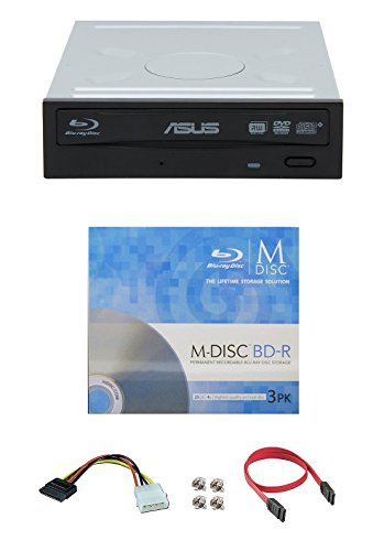 Asus 16x BW-16D1HT Internal Blu-ray Burner Drive Bundle with 3 Pack M-DISC BD and Cable Accessories (Supports BDXL and M-DISC, Retail Box) by Produplicator