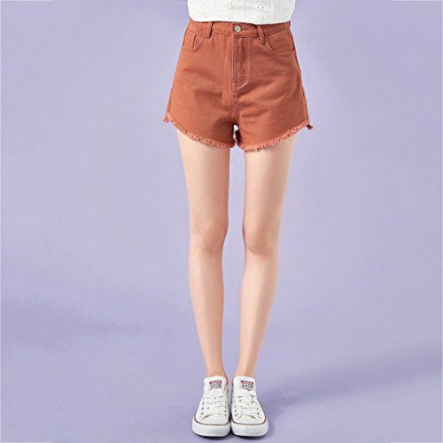 long Color Pantalon pants Macaron tudiant QI en Coton mi Hot Shorts FANG Brown Thin BUSINE Size S d't denim Yellow Femme multicolore wOxOpPvq