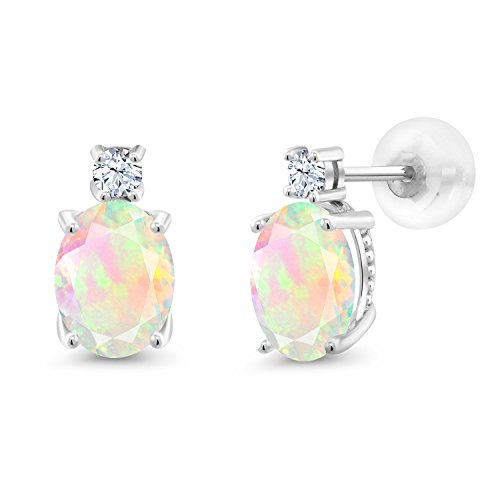 14k Natural Stone Earrings (1.74 Ct Oval White Ethiopian Opal 14K White Gold Earrings 8x6)