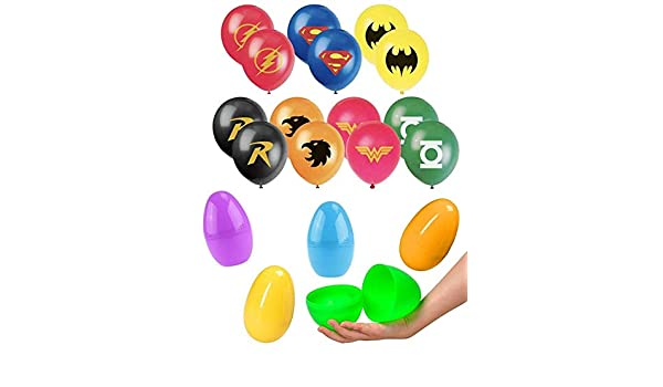 14ct 12 Justice League Hero Theme Balloons in a Large 6 inch Easter Egg Capsule Playoly Jumbo Plastic Egg Superhero Balloon Party Favor Supplies