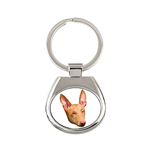 Pharaoh Hound, New Keyring with Purebred Dog, Geometric Collection
