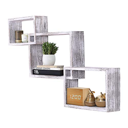 Rustic Wall Mounted Tier Square Shaped Floating Shelves - Set of 3 - Screws and Anchors Included - Farmhouse Wooden Shelves for Bedroom, Living Room and more - Rustic Wall Barn Décor - Rustic White