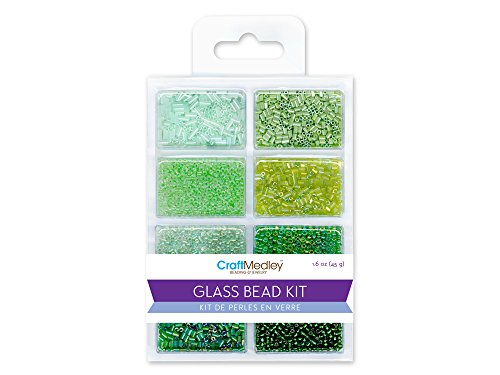 Green Bugle Glass Beads (Glass Bead Kit, 45g, Rocailles/Seed/Bugles, Going Green)
