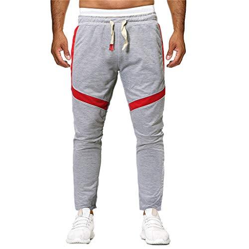 XLnuln Men's Wild Cargo Pants Regular Taper Fit Pant Sport Joint Lashing Patchwork Loose Sweatpants Drawstring Pant Gray -
