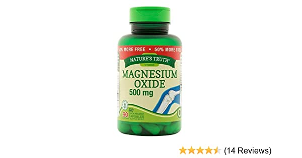 Amazon.com: Natures Truth Magnesium Oxide 500 mg Capsules, 90 Count: Health & Personal Care