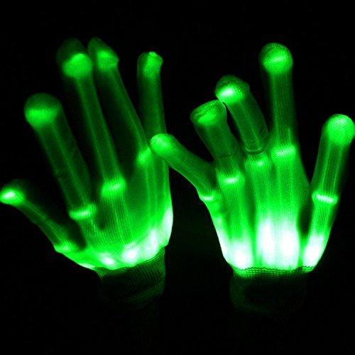 Pretid Led Gloves Light up Rave Skeleton Gloves Toys for Halloween Pary, Novelty Christmas Gift (green)