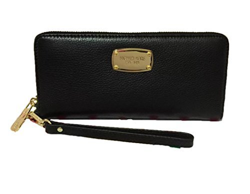 Jet Set Continental Wallet (Michael Kors Black Leather Jet Set Travel Continental Zip Around Wallet Wristlet with Golden Hardware)
