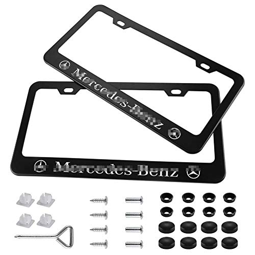 Carhome01 2 Pieces Matte Aluminum Alloy for Mercedes-Benz License Plate Frame with Screw Caps Cover Set, Black