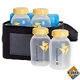 Medela Breast Milk Cooler and Transport Set, 5 Ounce Bottles with Lids, Contoured Ice Pack, Cooler Carrier Bag (4 Pack)