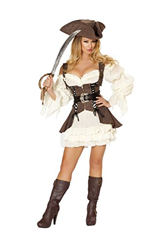 Cyberteez Sexy Women's 4pc Naughty Pirate Ship Wench Buccaneer Costume (S) Brown/White]()