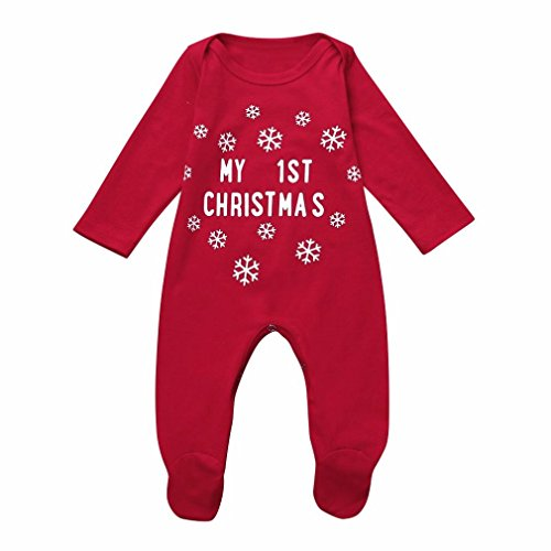 Kehen Newborn Baby New Years Costume My 1st Christmas Letter Long Sleeve Cotton Romper (Red, 3-6 Months)