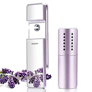 ❉Year-end Gift❉OKACHI GLIYA Portable Nano-Ionic Mist Spray Cool Sprayer Hydrating Refresh Soft Skin Mister Mini Humectant Beauty Skin Care Tool Water Spa with Mirror USB Cable