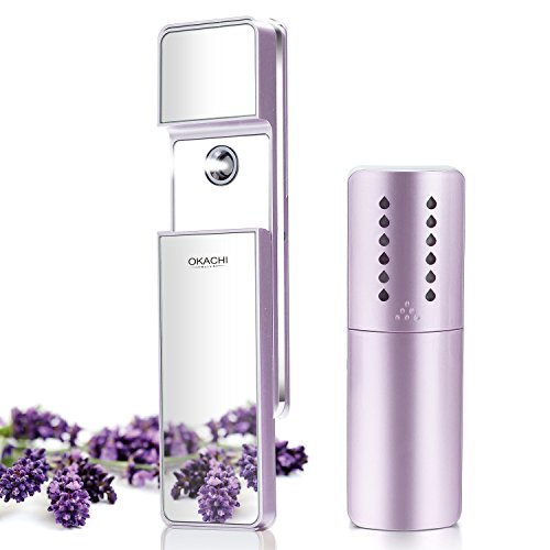 OKACHI GLIYA Portable Nano-Ionic Mist Spray Cool Sprayer Hydrating Refresh Soft Skin Mister Mini Humectant Beauty Skin Care Tool Water Spa 10x More Effective than Facial Mask with Mirror USB Cable