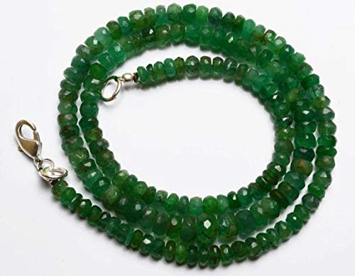 GemAbyss Beads Gemstone 1 Strand Natural 17.5 Inches Stands AAAA Gems Quality 100% Natural Emerald Transparent Faceted Roundels Beads Necklace 4 to 7.5 MM Code-MVG-28636