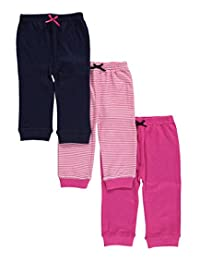 "Luvable Friends Baby Girls' ""Bowed Solids & Stripes"" 3-Pack Pants"