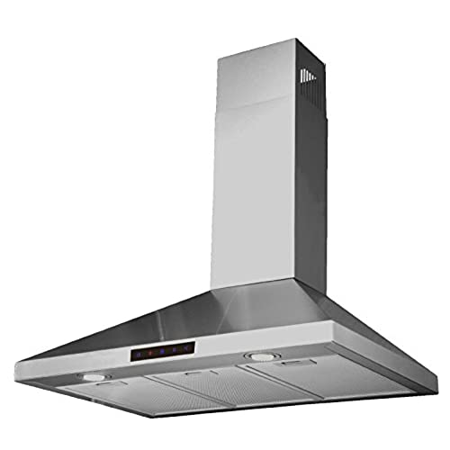 Kitchen Bath Collection 30 Inch Wall Mounted Stainless Steel Range Hood  With Touch Screen Control Panel, Capable Of Vent Less Operation.