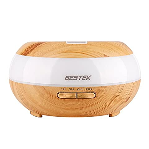 Aromatherapy Diffuser, BESTEK 300ml Wood Look Diffuser Lasts 8 Hours with Waterless Auto Shut-off , 7 LED Night Lights, 4 Time Settings, for Home, Bedroom, Office, Yoga (Cvs Hours)