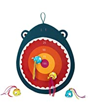 B. toys by Battat Hungry Toss Shark Toys-Kids Dart Board 1 Fabric Board and and 4 Soft Velcro Darts for Kids 3+ (5-Pcs)