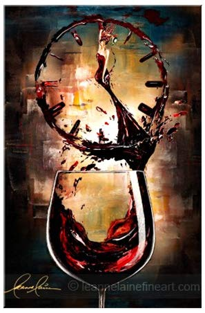 Leanne Laine is It Wine O Clock Yet - Authentic Signed & Textured Stretched Canvas Limited Edition Giclee Art Print of her Original Acrylic on Canvas Women in Wine Painting (Signature Series)