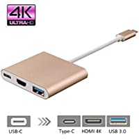 Type C to HDMI Adapter, Rodzon USB 3.1 Type-C to HDMI Cable Adapter, USB C Charging Port+HDMI 4K+USB 3.0, for 12 New Macbook/Chromebook Pixel/Dell XPS 13/Lumia 950XL & More Type-C Devices